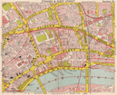 LONDON WC2 EC4 WC1 EC1. Covent Garden Holborn St Paul's Strand. BACON 1959 map